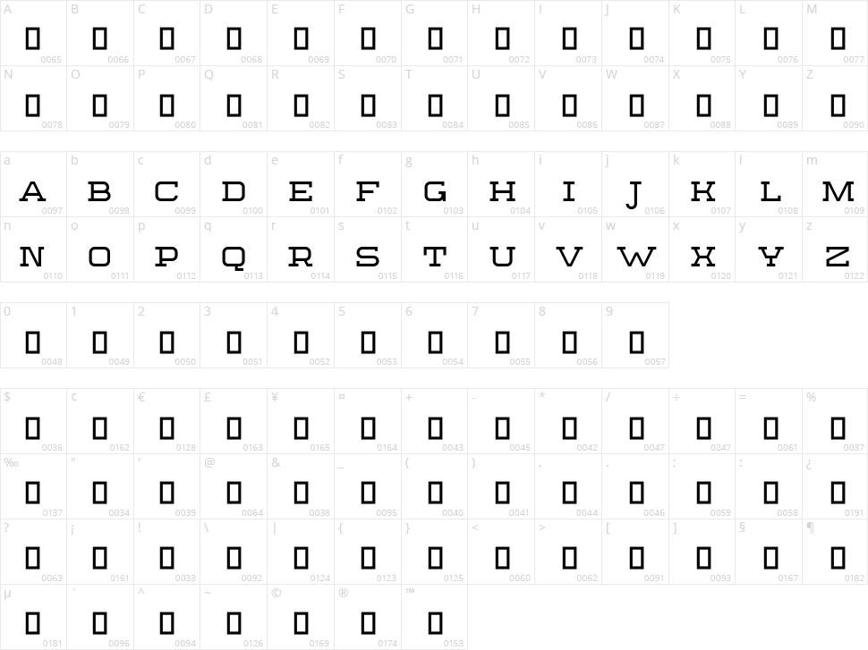 Sebastien Slab Character Map