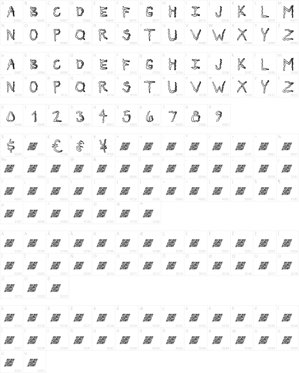 Secret Tickle MB Character Map