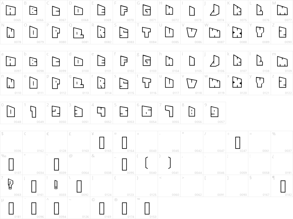 See Through Slanty Font Character Map