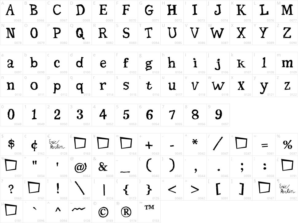 Seriffic Grunge Character Map