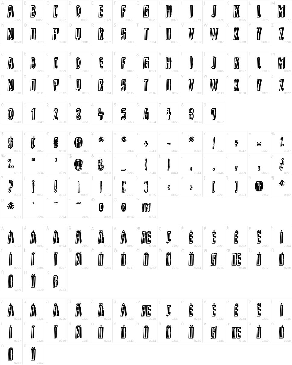 Shady Lane Character Map