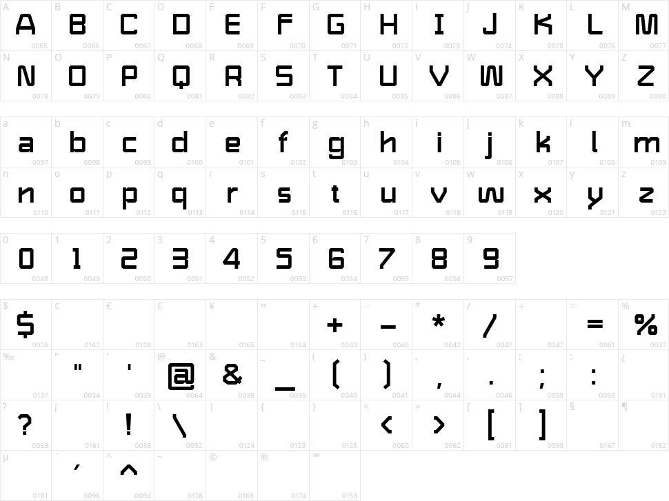 Shaffron Character Map