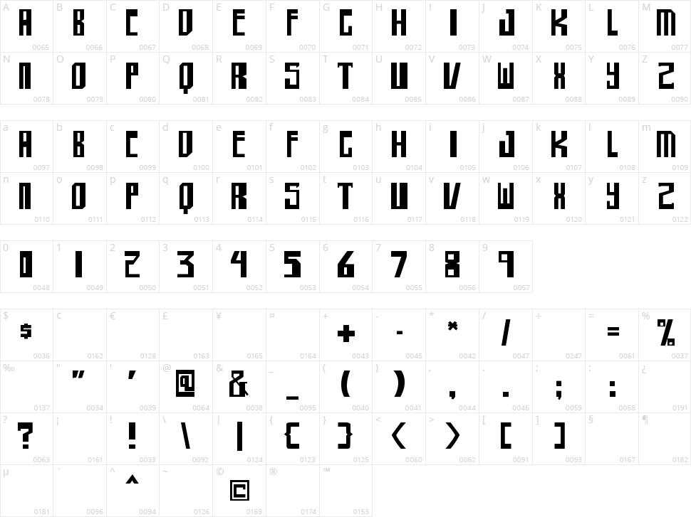 Shellhead Character Map