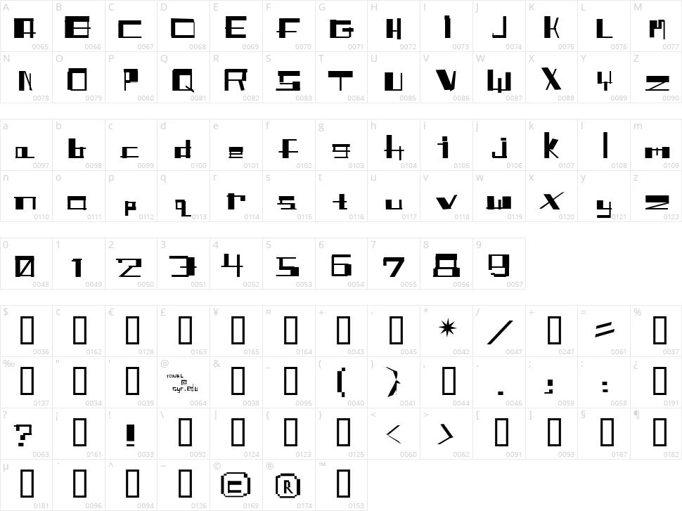 Shitfont Character Map