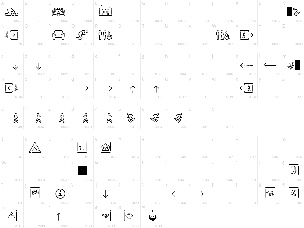 Siruca Pictograms Character Map