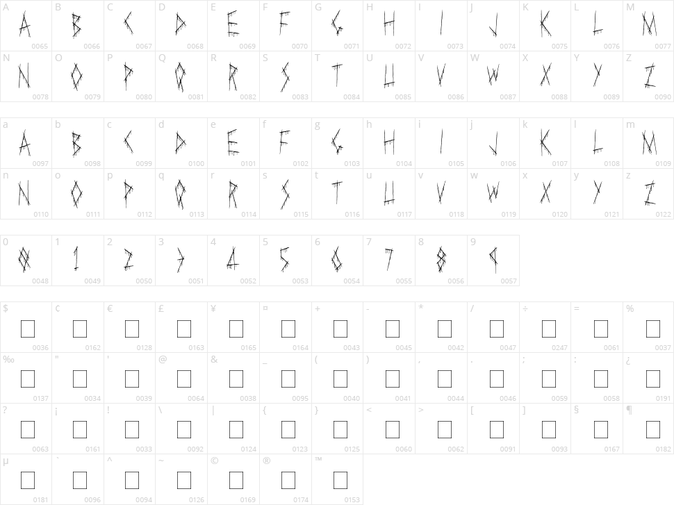 Slasha Character Map
