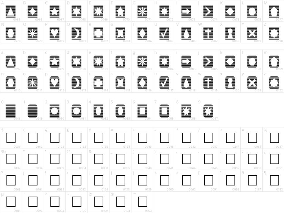 Slats n Things Character Map
