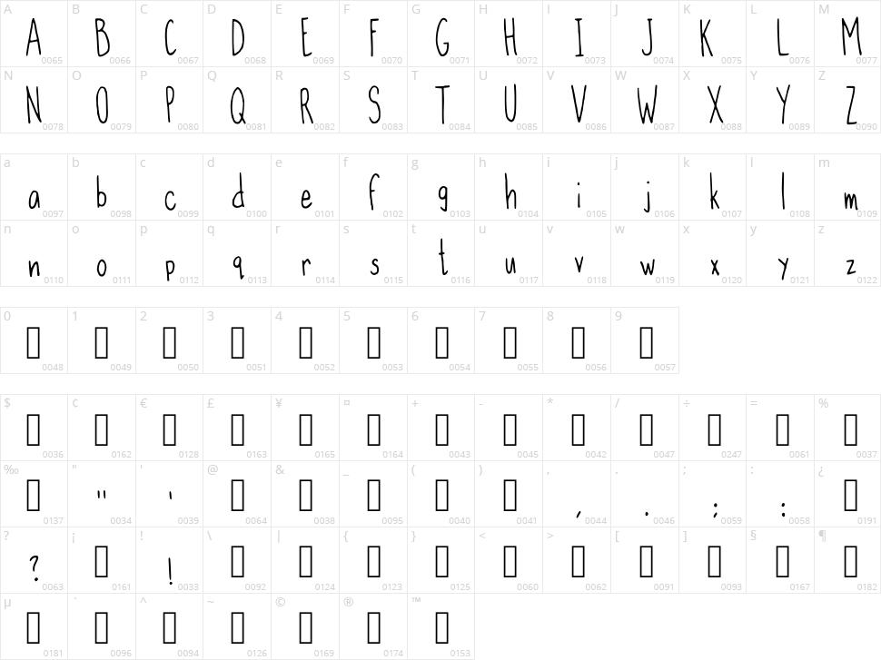 Slim Handwritten Character Map