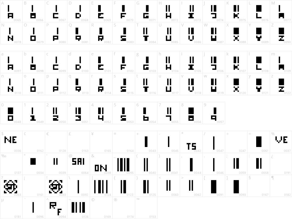 SmallBars Character Map