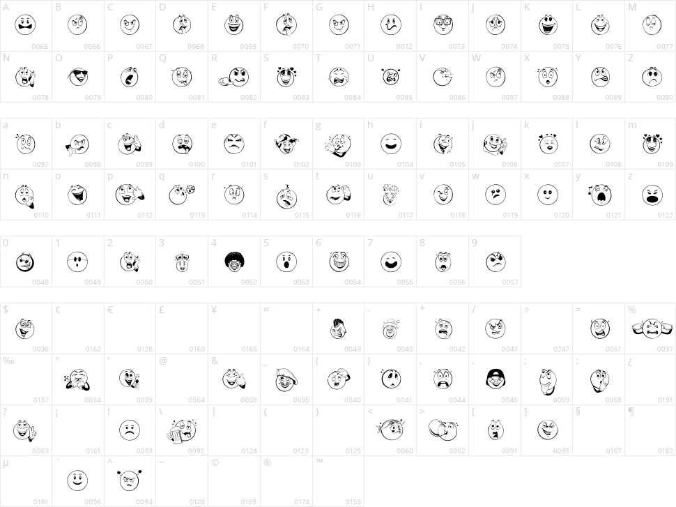 Smile 2 Me Character Map