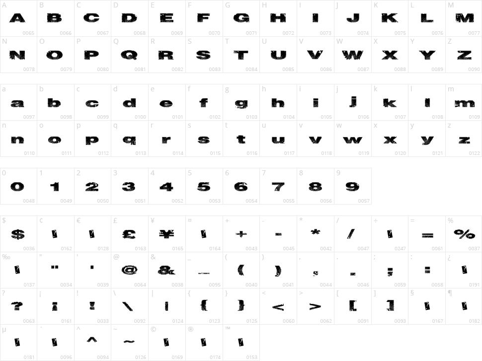 Snake Stitch Character Map
