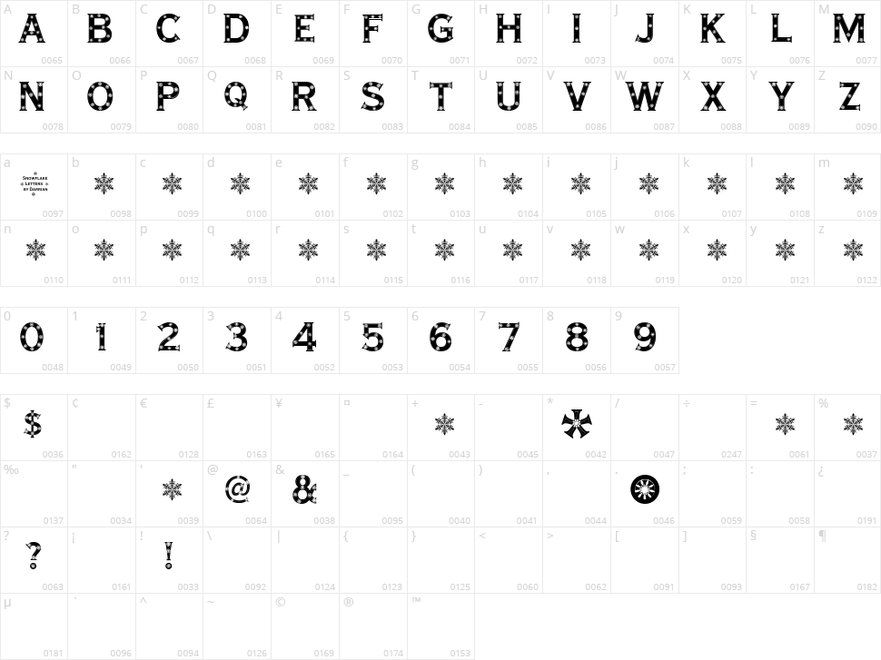 Snowflake Letters Character Map