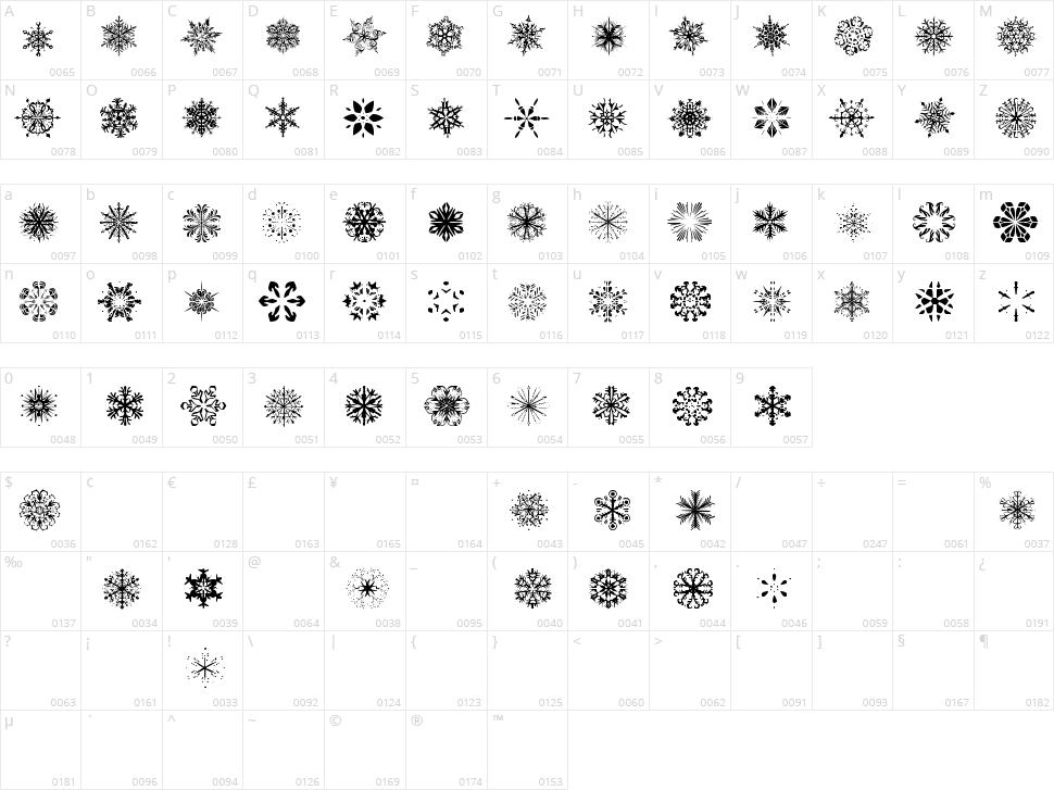 Snowflakes TFB Character Map