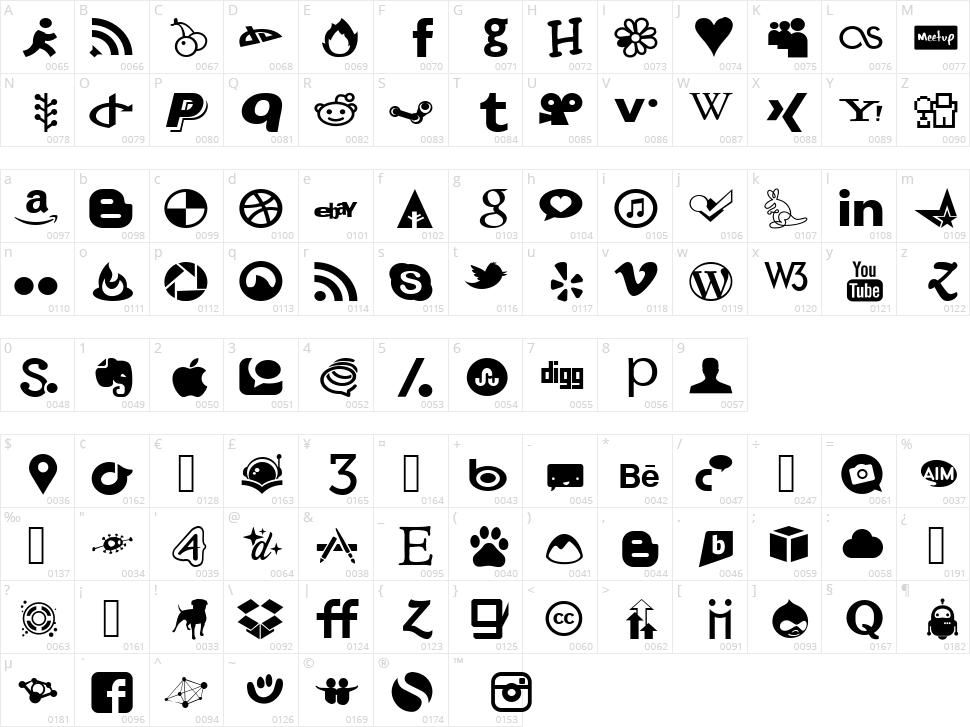 Social Font Face Character Map