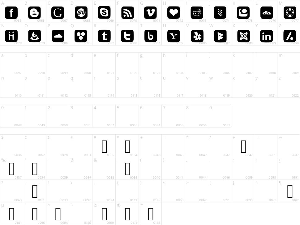Social Font Icons Character Map