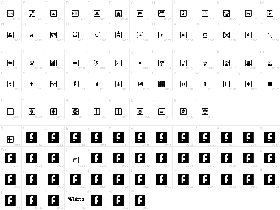 Space Game Icons Character Map