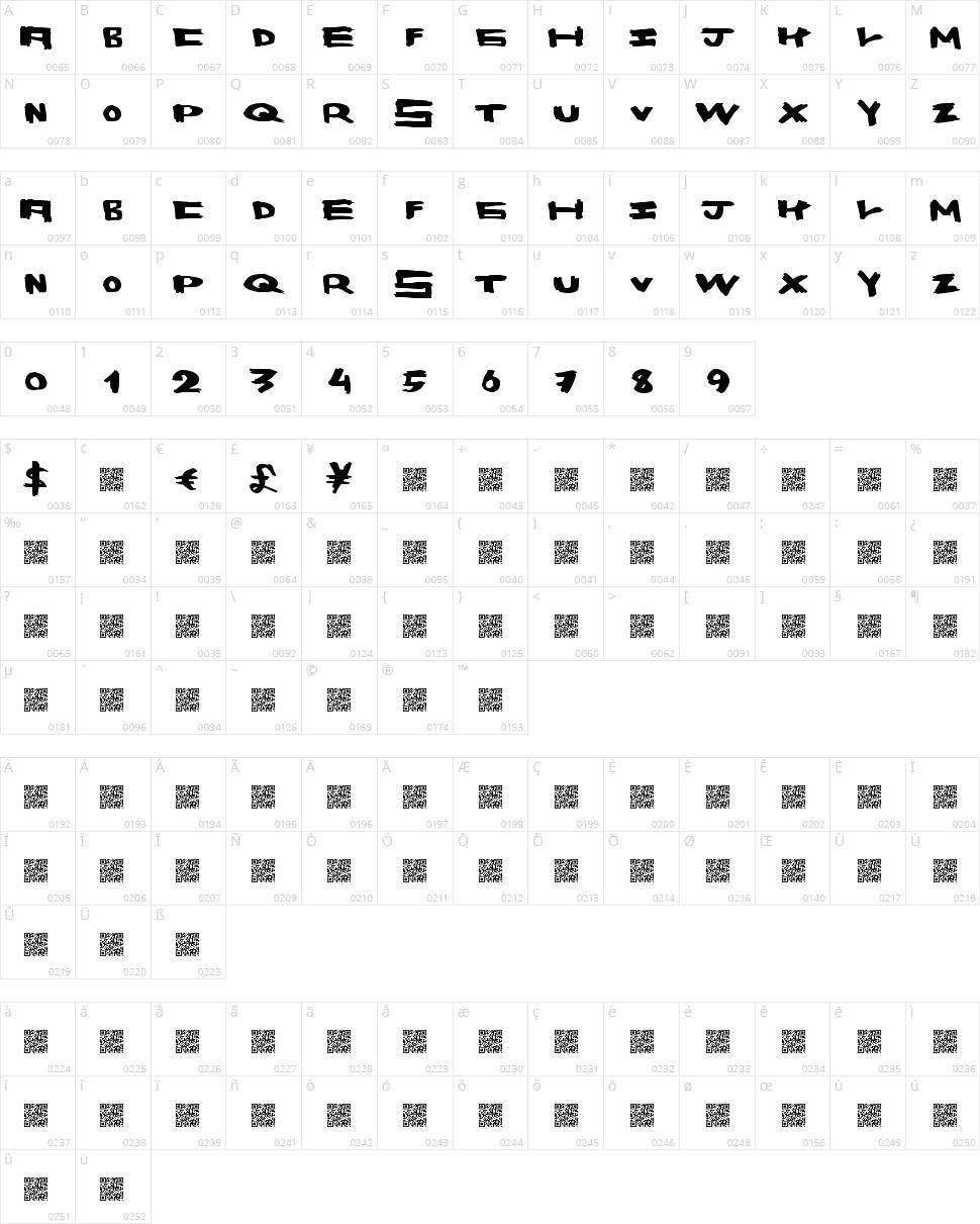 Space Bang Character Map