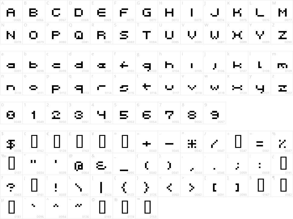 Spacebit Character Map
