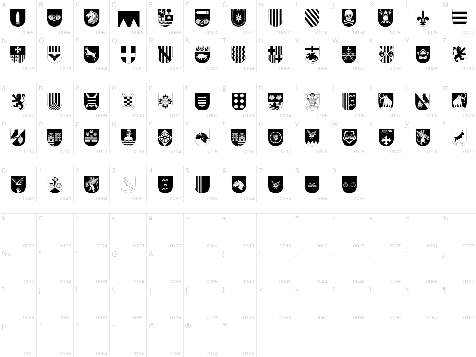 Spanish Army Shields Two Character Map