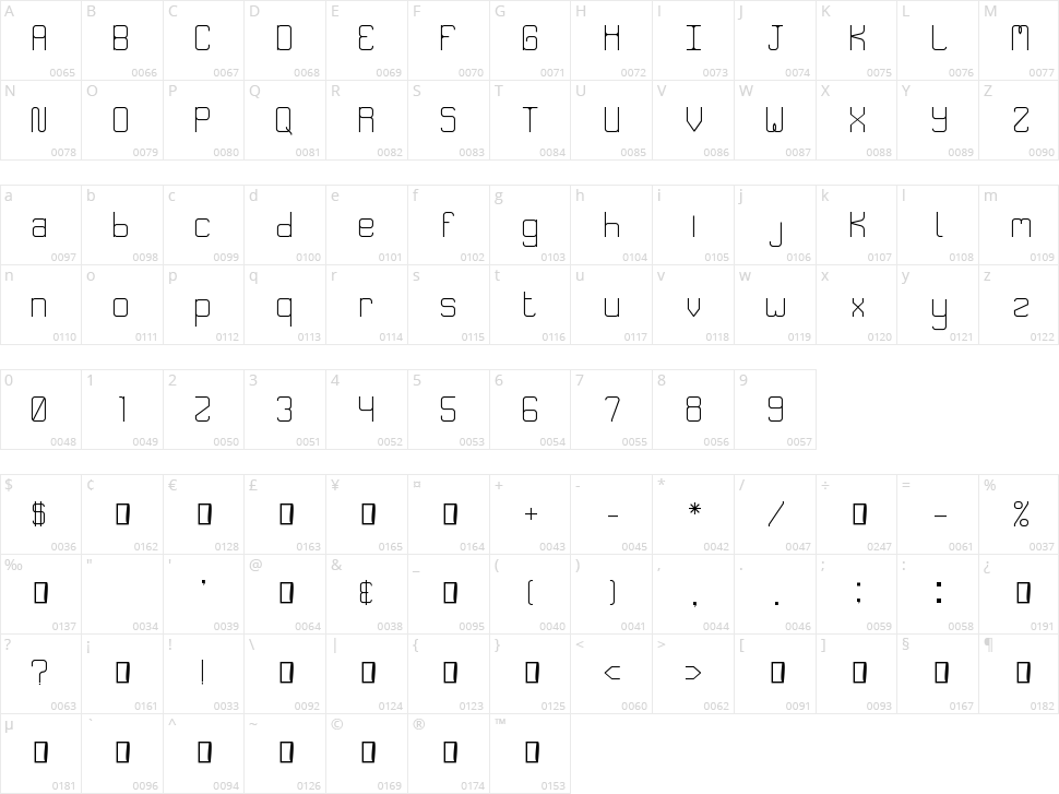Speakeasy Menu Character Map