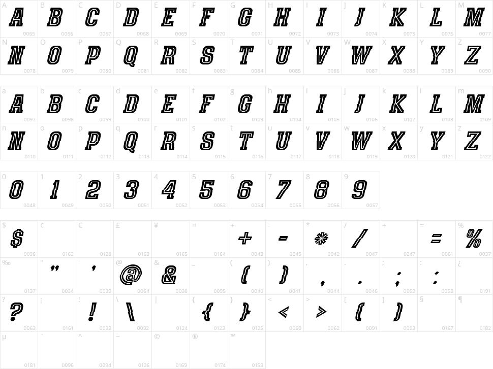 Speedhunter Line Character Map
