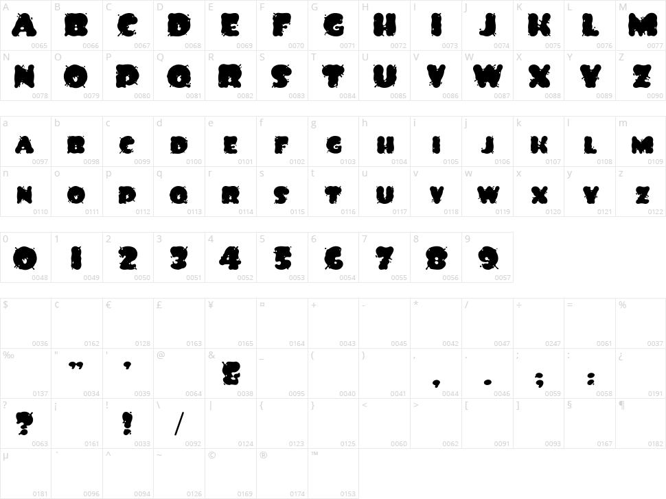 Spilt Ink Character Map