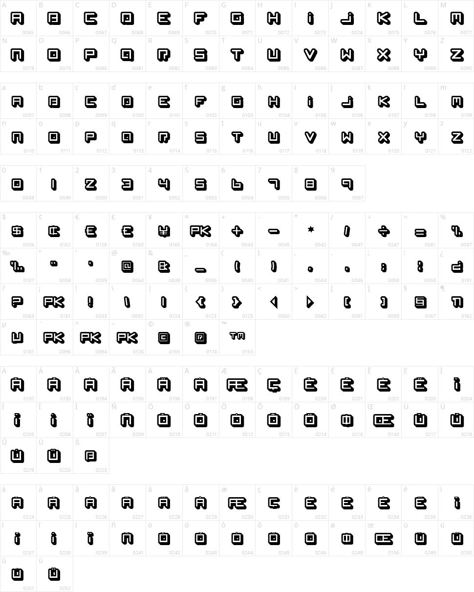 Spleen Machine Character Map