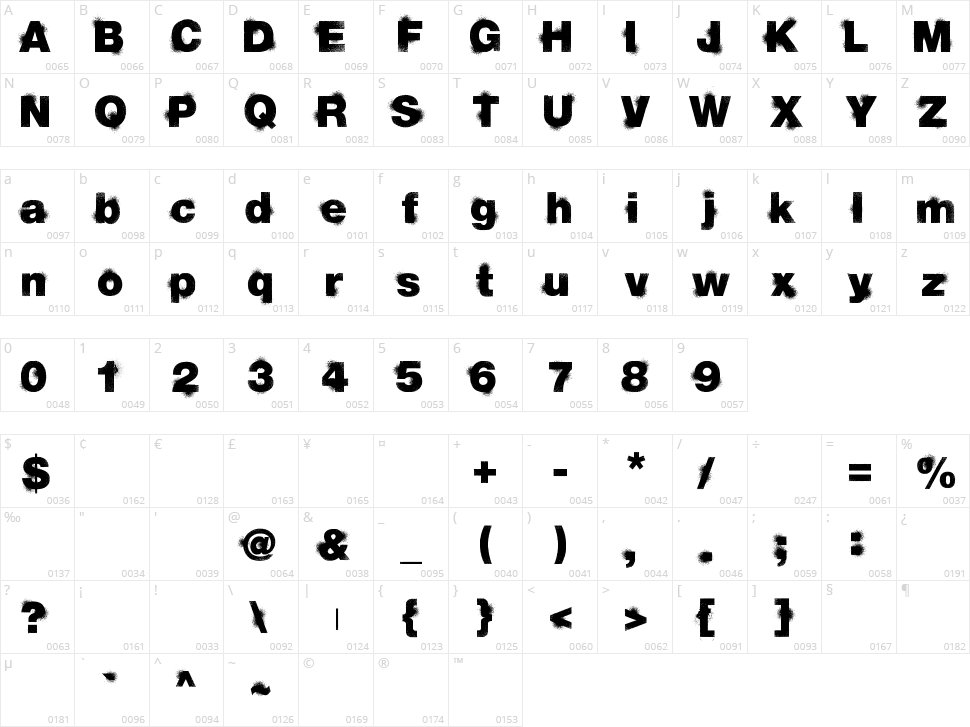 Sprayvetica Character Map