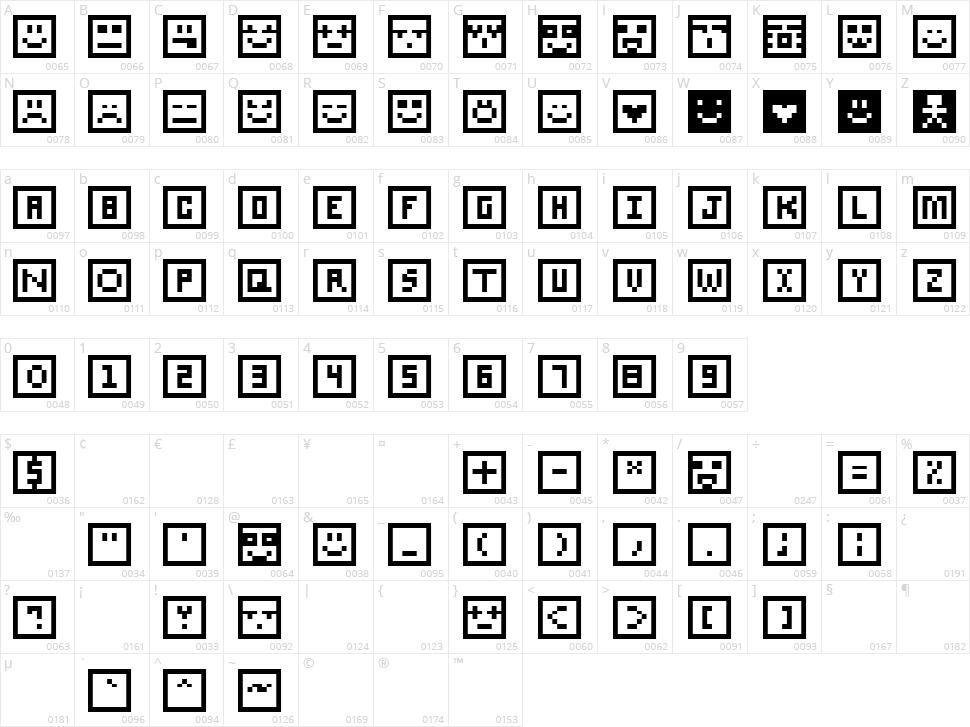 SQcon Character Map