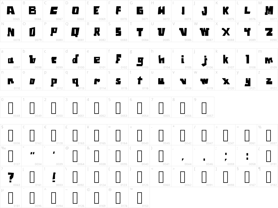 Square Font Character Map