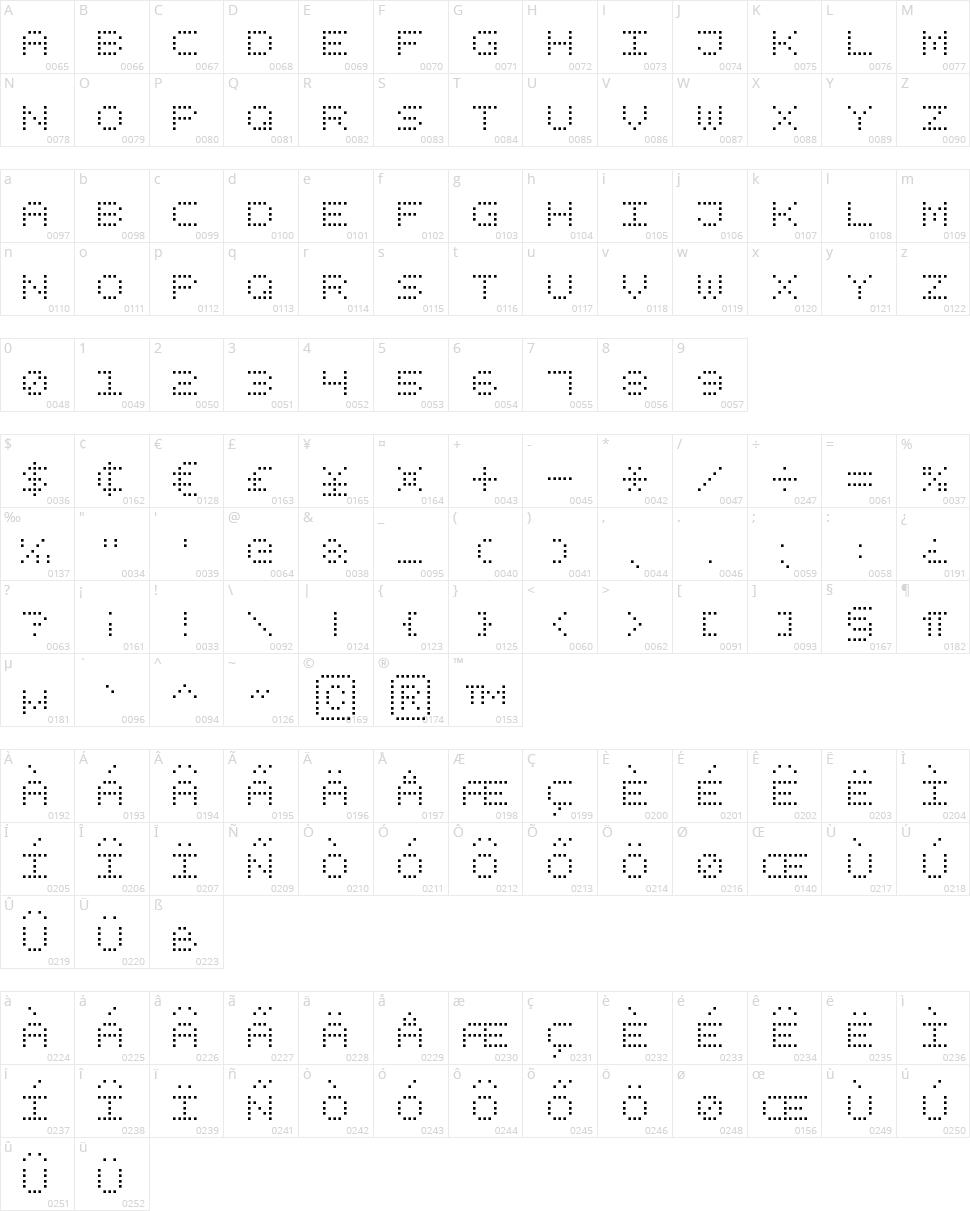 Square Dot Digital-7 Character Map