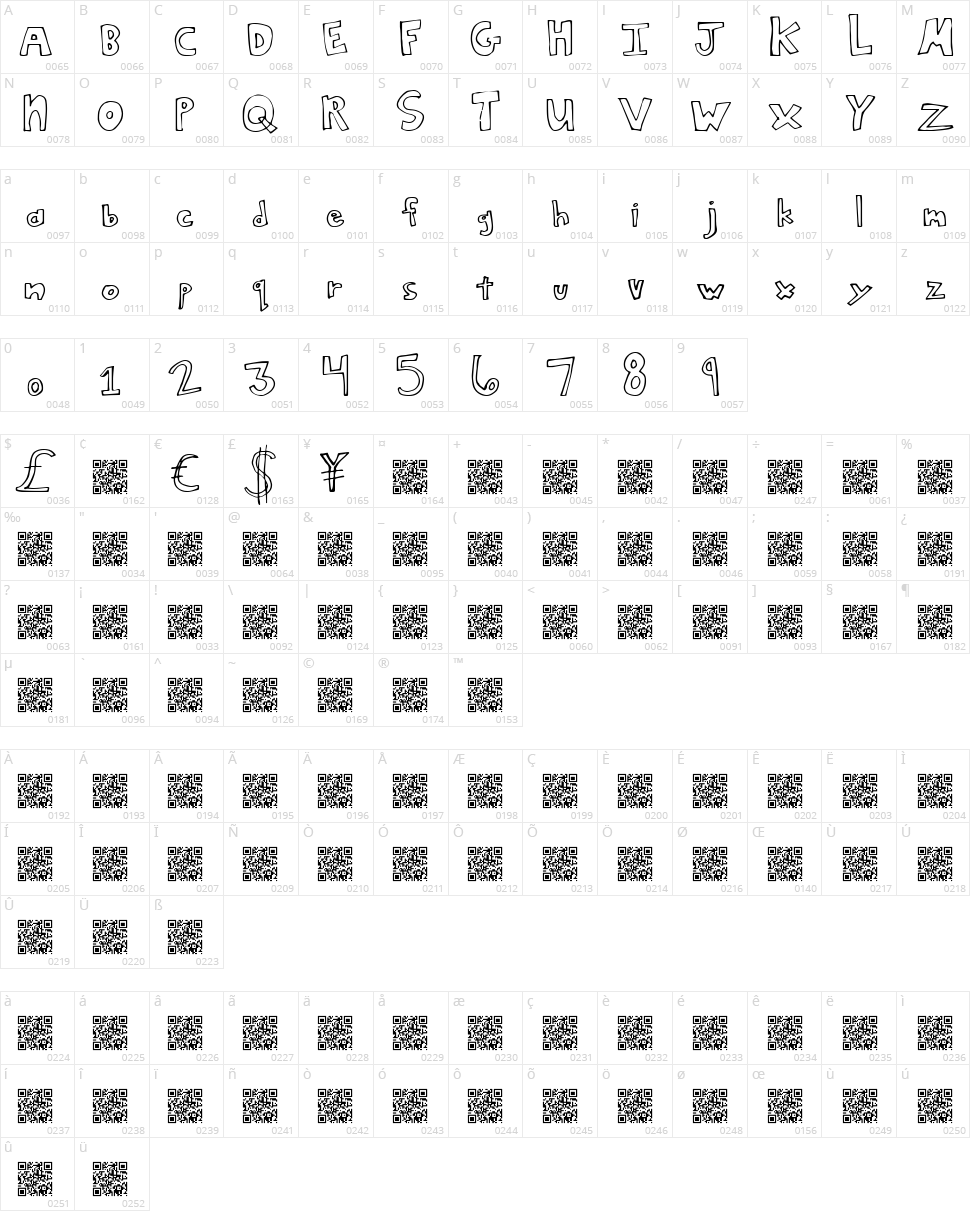 Square Deal Character Map