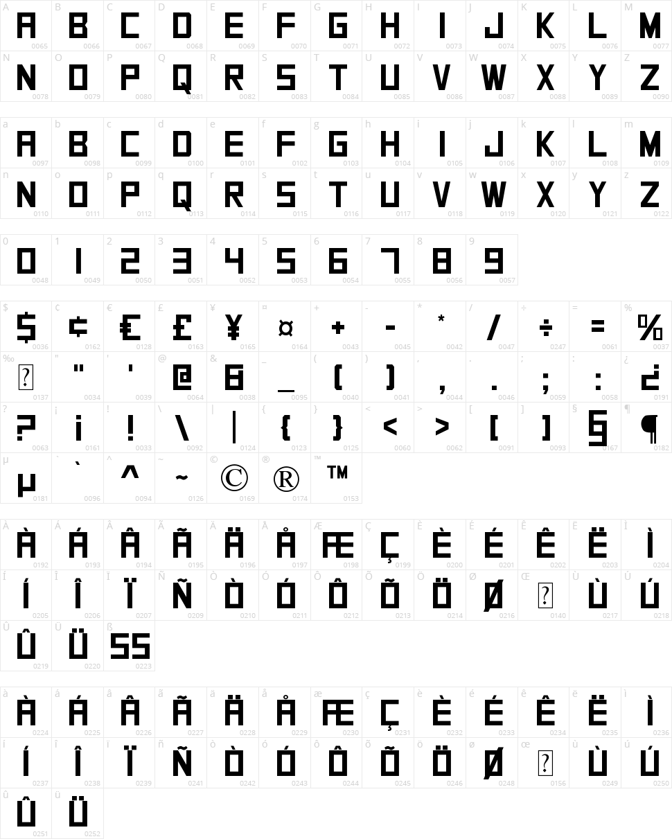 SquareFont Character Map