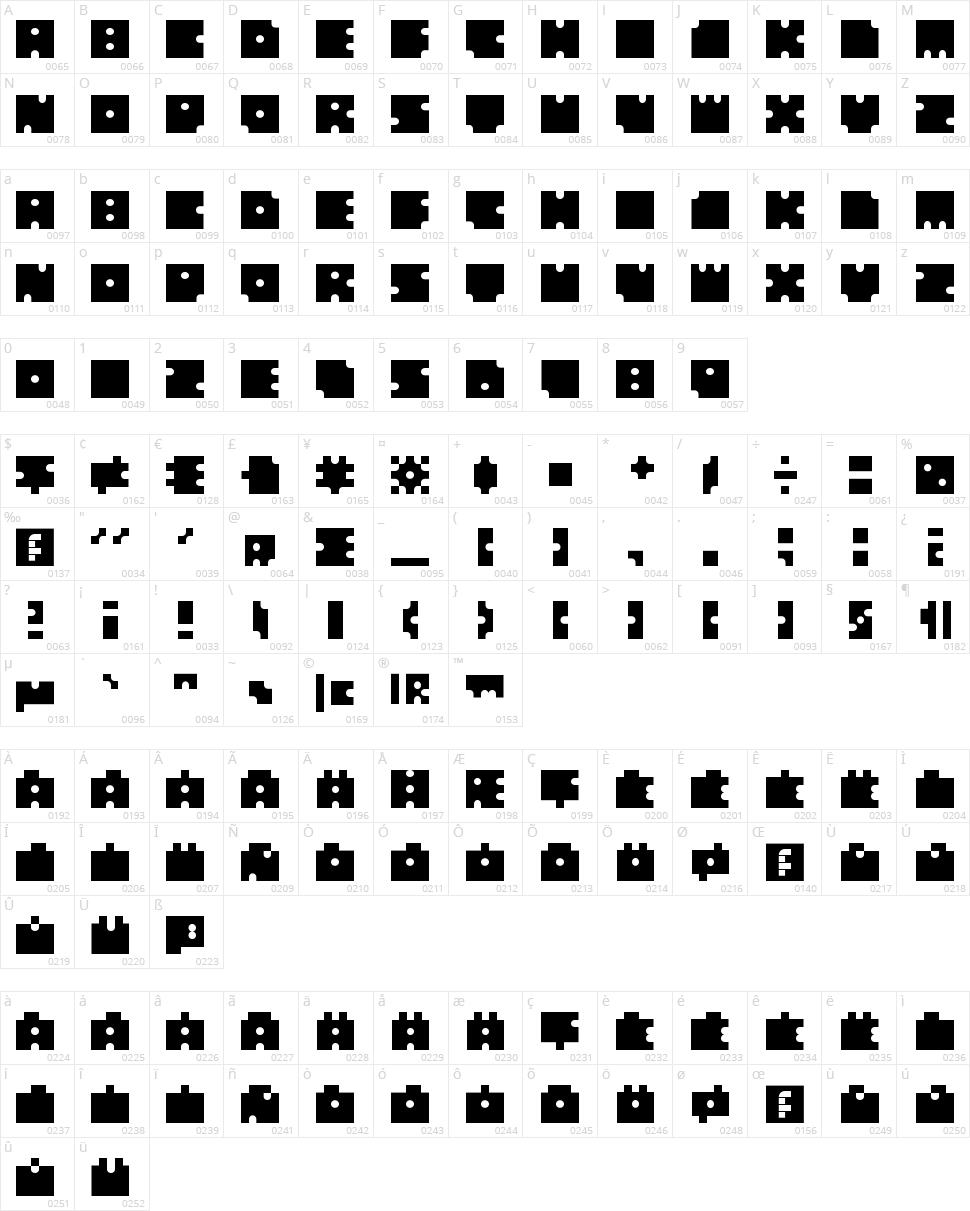 Squares Circles Character Map