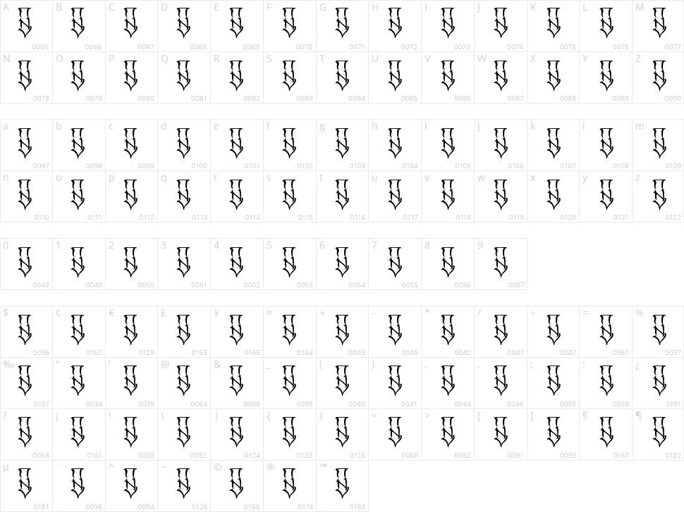 SR Cuen Font Character Map