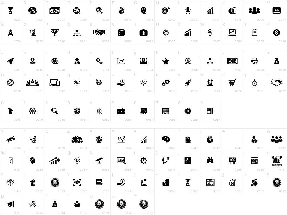 Startup Icons Character Map