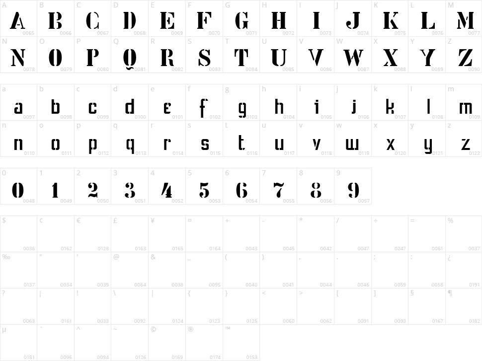 Stencil Intellecta Character Map