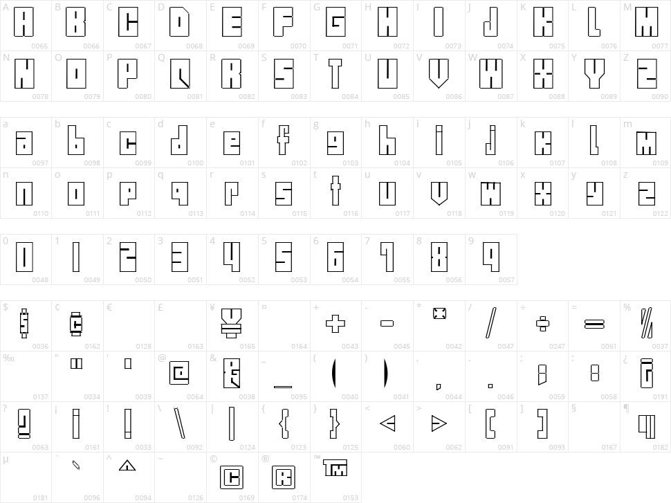 Street Blocks Character Map