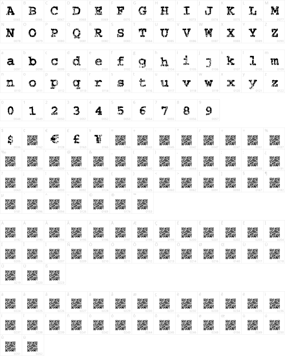 Strung Piano Character Map