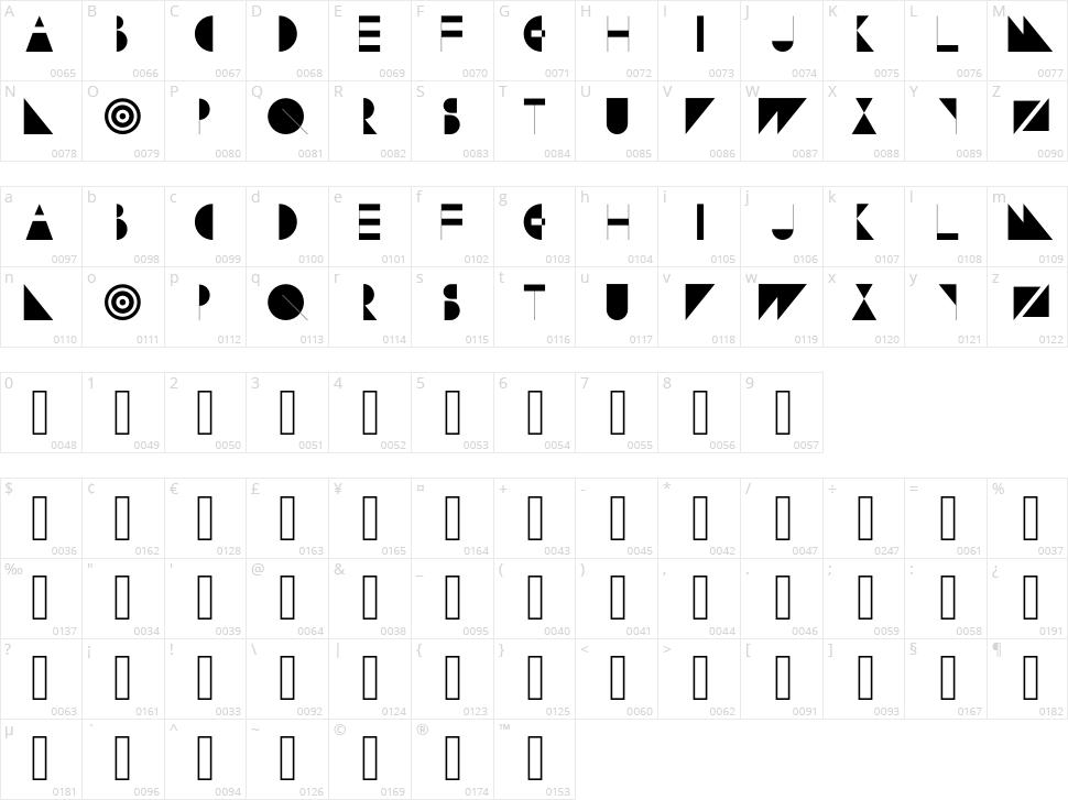 Subversion Display Character Map