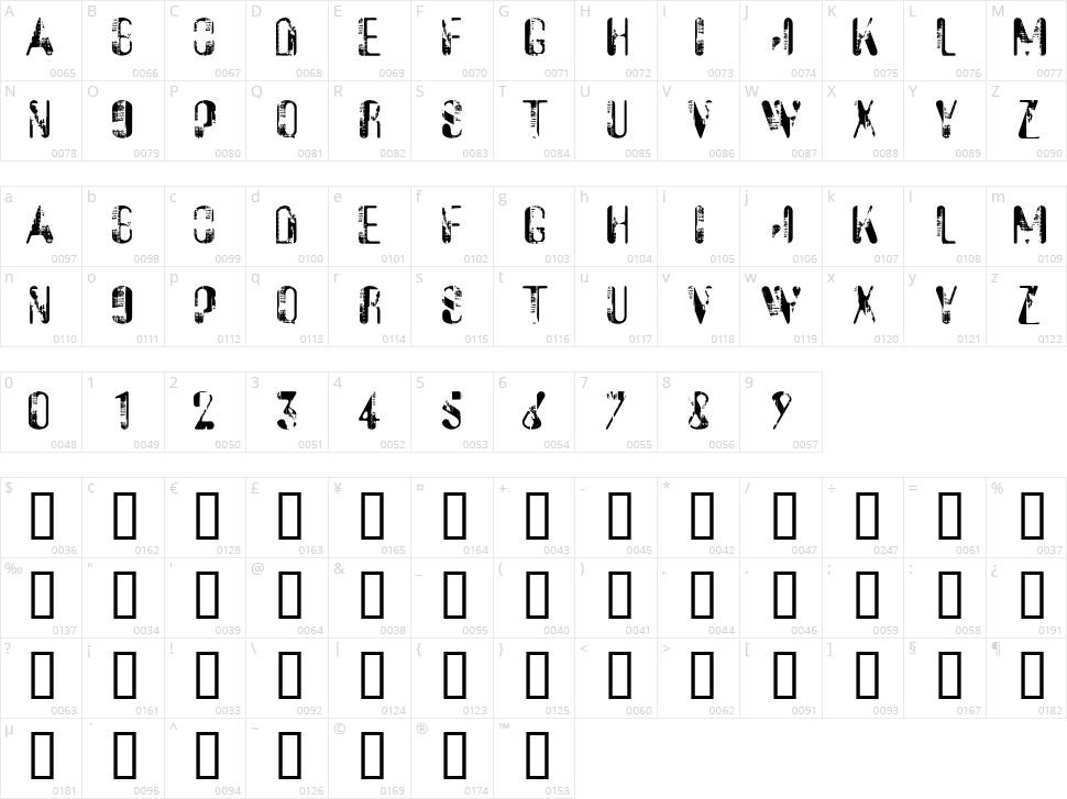 Sucata Spacial Character Map