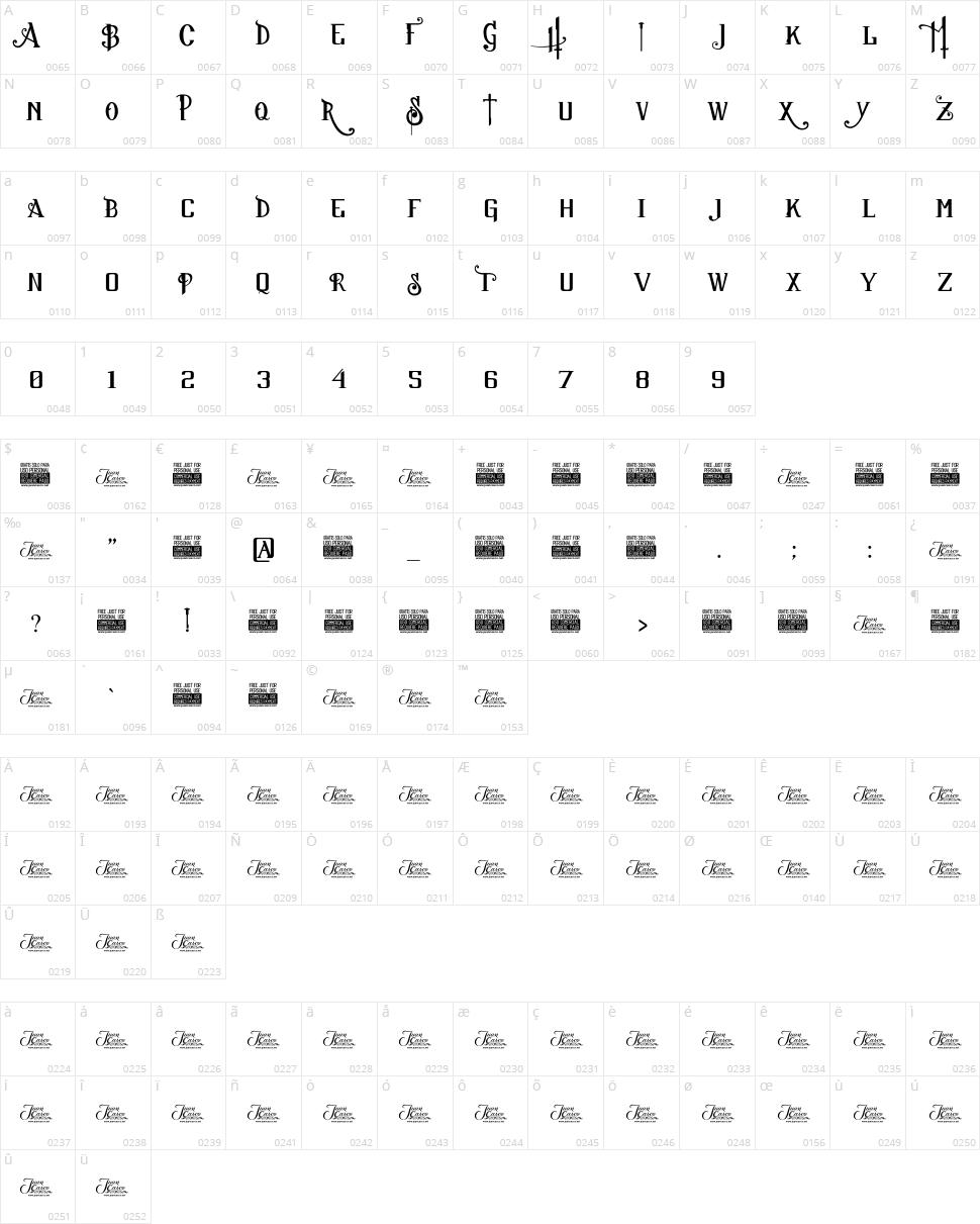Sucker Font Character Map