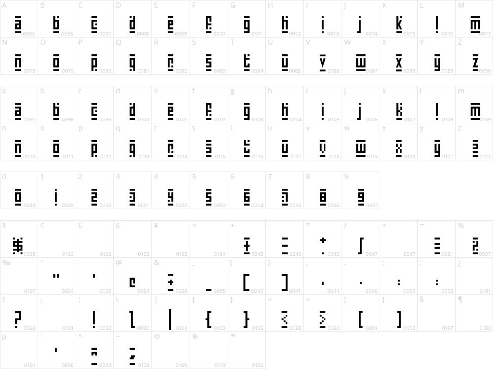 Super Skinny Pixel Bricks Character Map