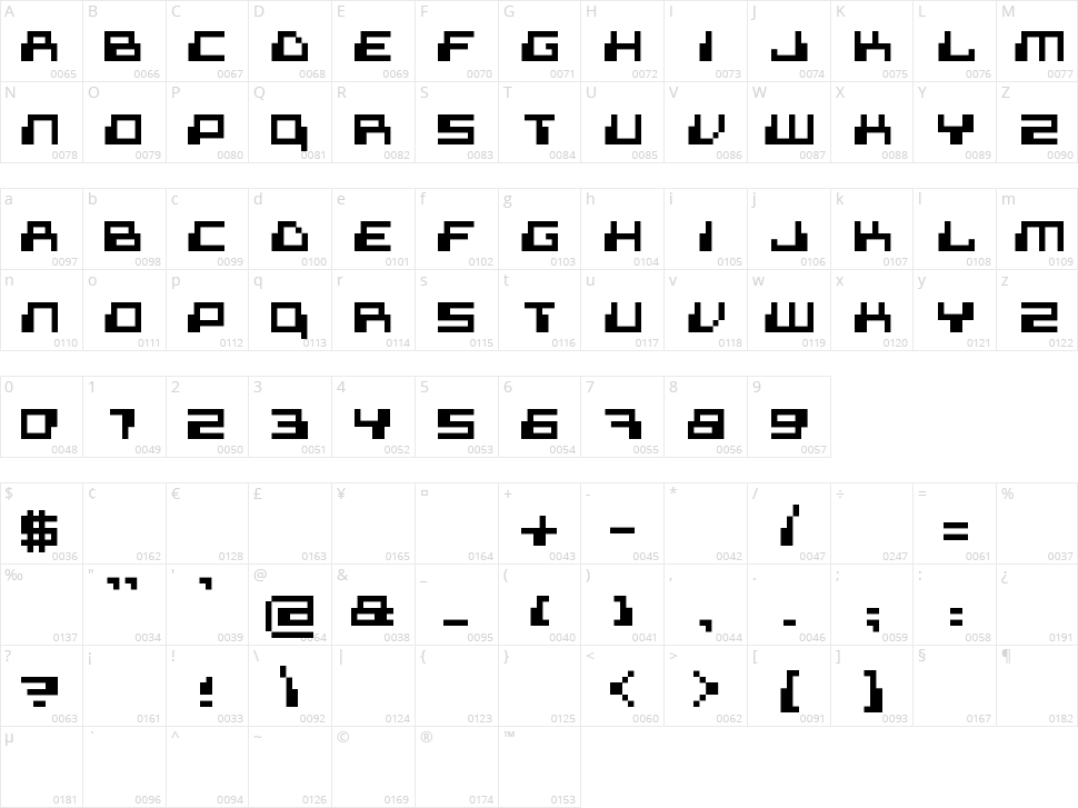 Superdigital Character Map