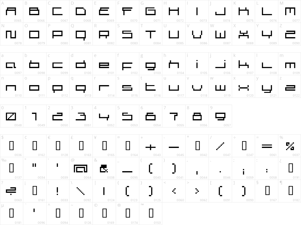 Superscreen Character Map