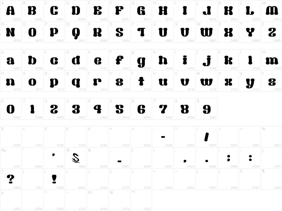 Syouwa Retro Pop G Character Map