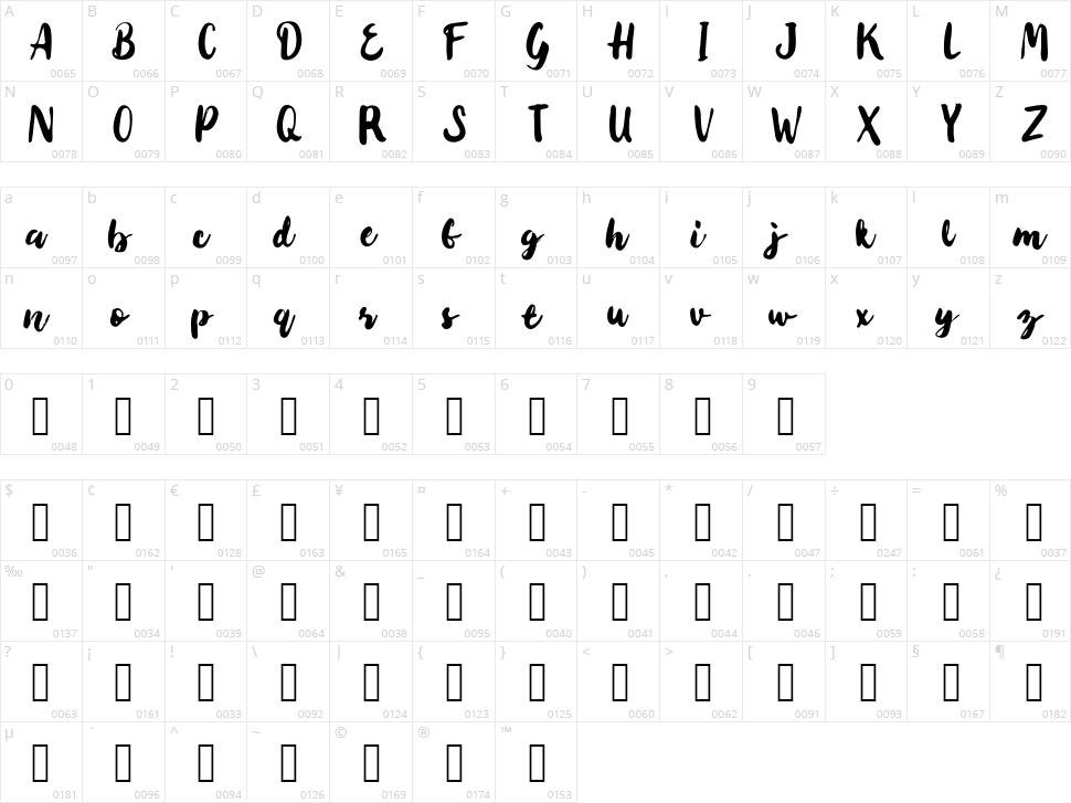 Tabio Character Map