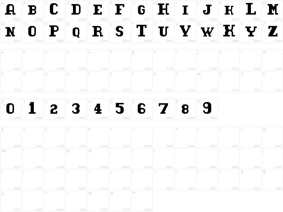 Tacketil Character Map