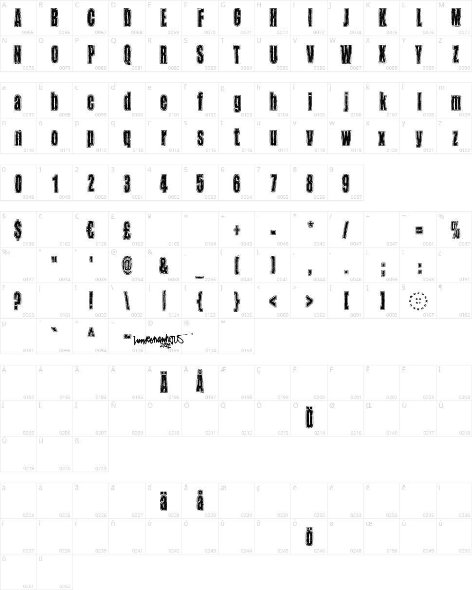 Takapiru Character Map