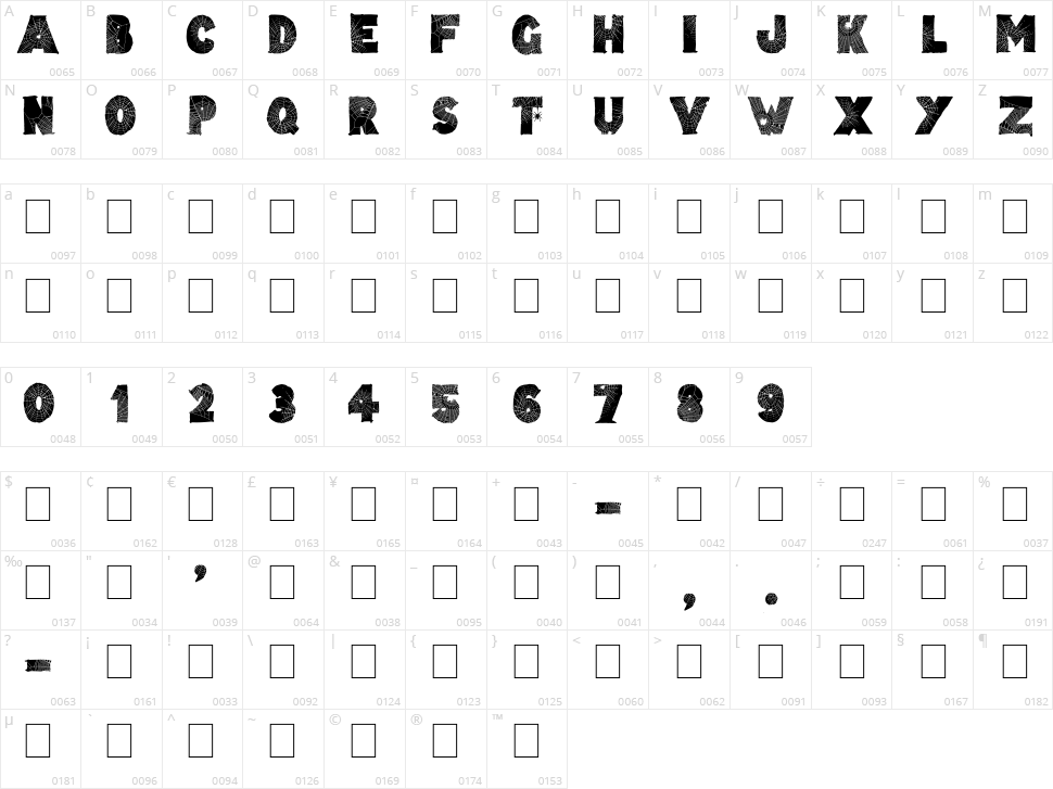 Tarentula's Web Character Map